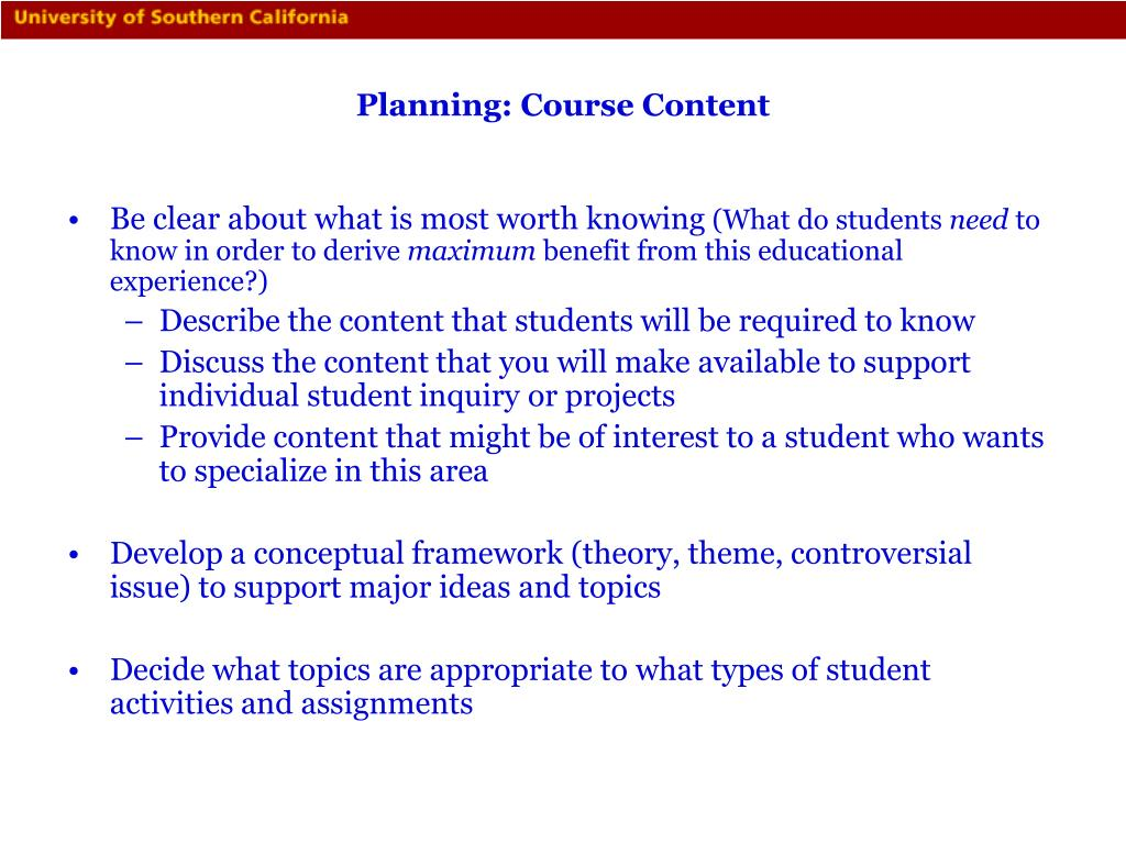 Planning: Course Content