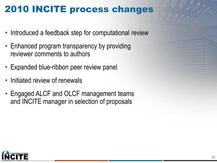 2010 INCITE process changes