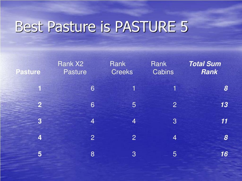 Best Pasture is PASTURE 5