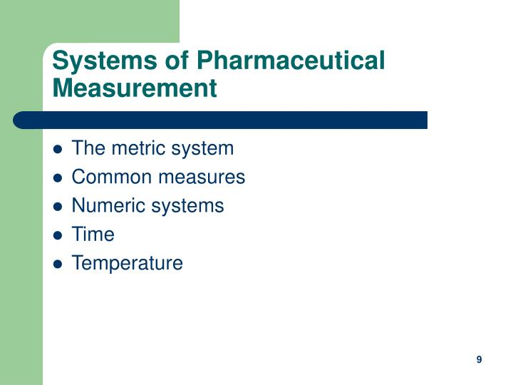 Systems of Pharmaceutical Measurement