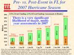 pre vs post event in fl for 2007 hurricane season