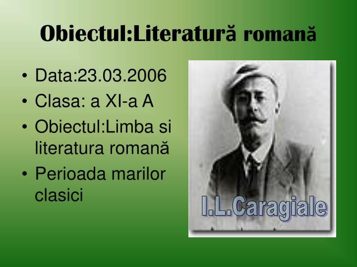Obiectul:Literatur