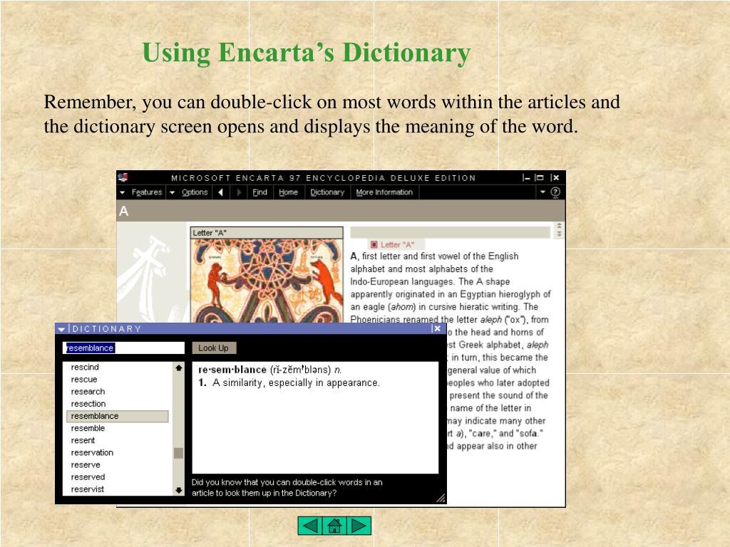Using Encarta's Dictionary