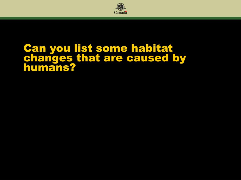 Can you list some habitat changes that are caused by humans?