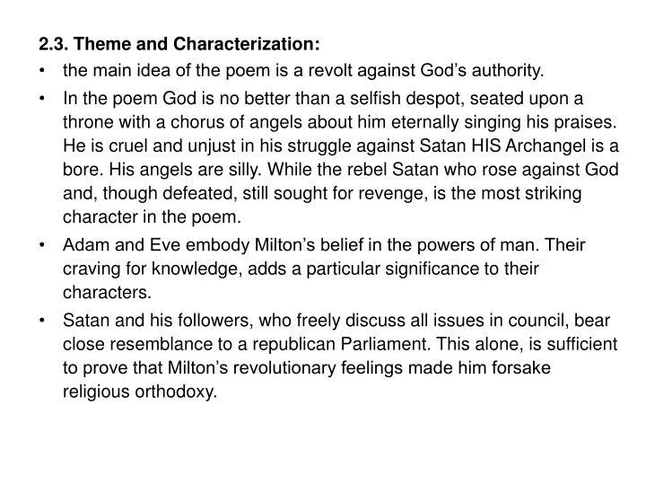 2.3. Theme and Characterization: