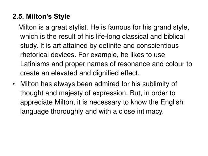 2.5. Milton's Style