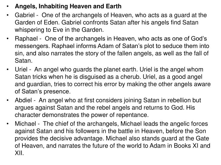 Angels, Inhabiting Heaven and Earth