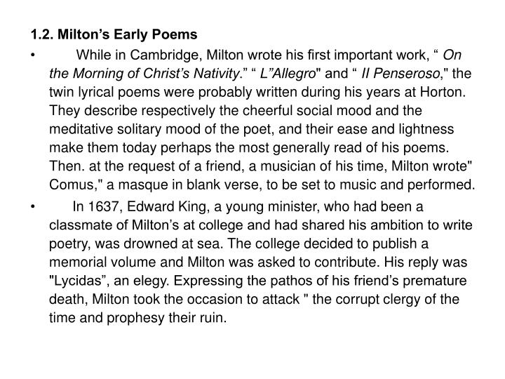 1.2. Milton's Early Poems