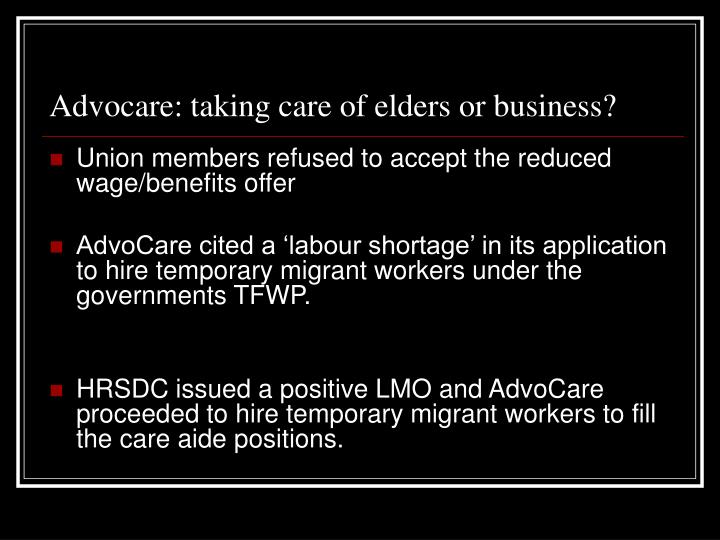 Advocare: taking care of elders or business?