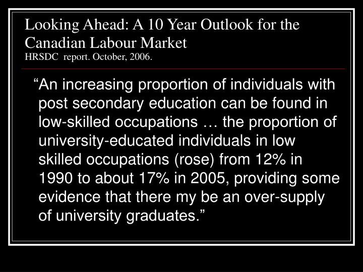 Looking Ahead: A 10 Year Outlook for the Canadian Labour Market