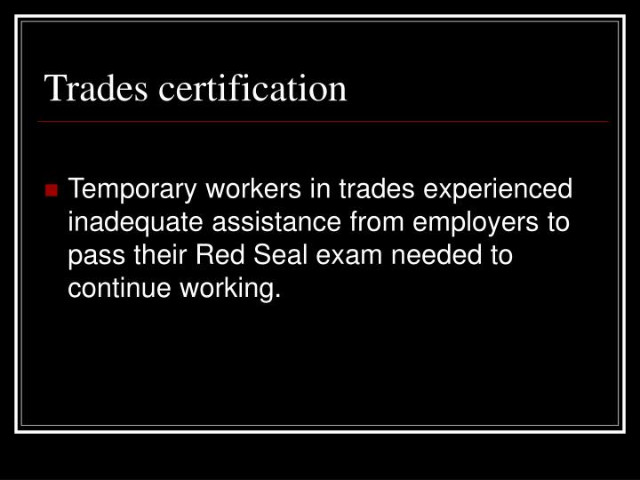 Trades certification