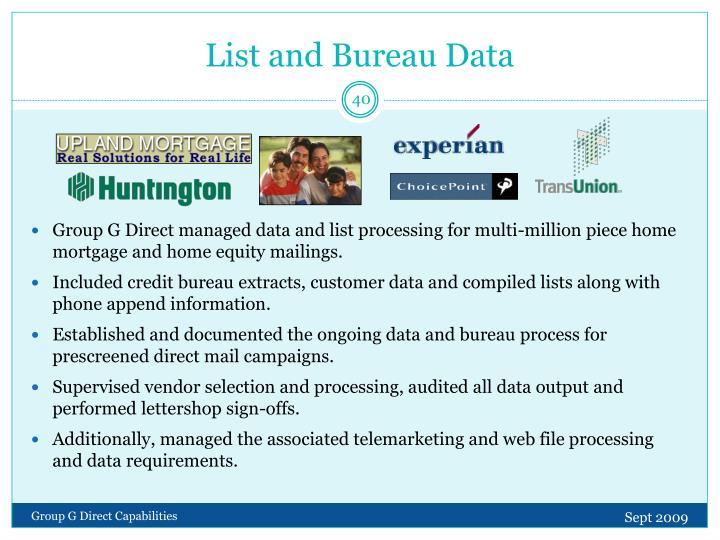 List and Bureau Data