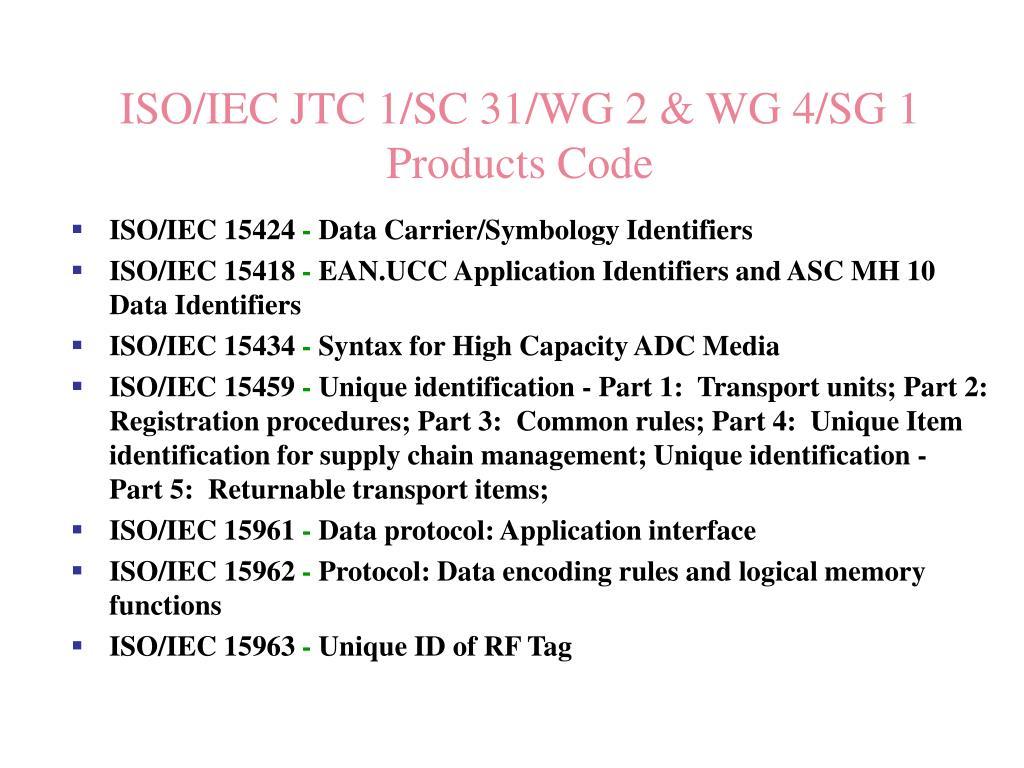 ISO/IEC JTC 1/SC 31/WG 2 & WG 4/SG 1
