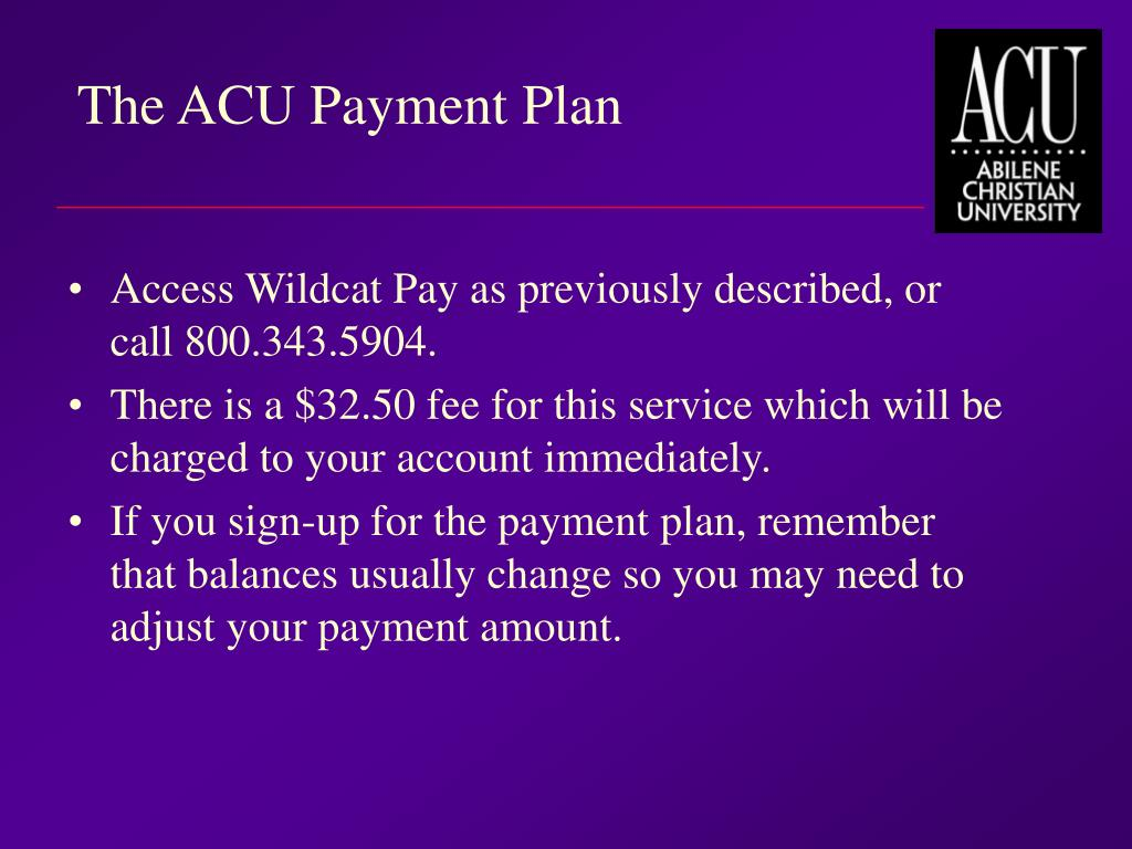 The ACU Payment Plan