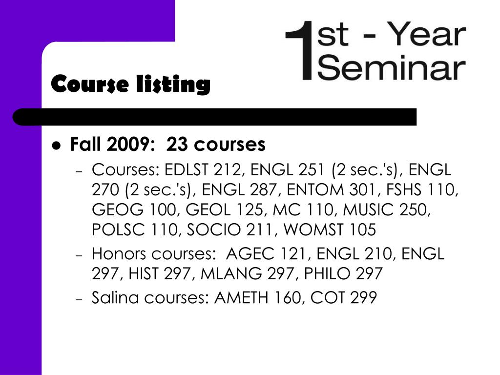 Course listing
