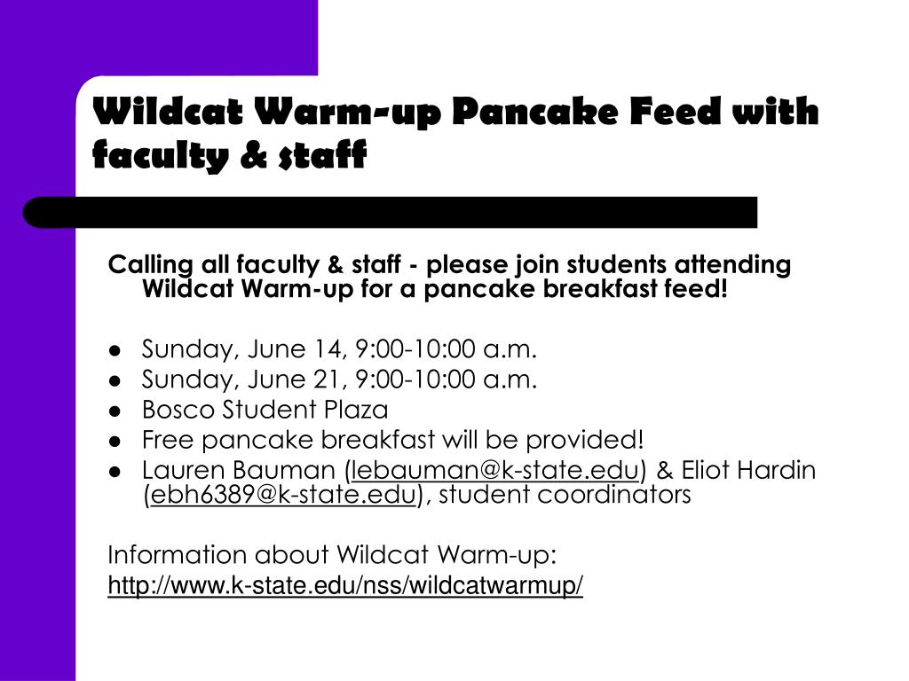 Wildcat Warm-up Pancake Feed with faculty & staff