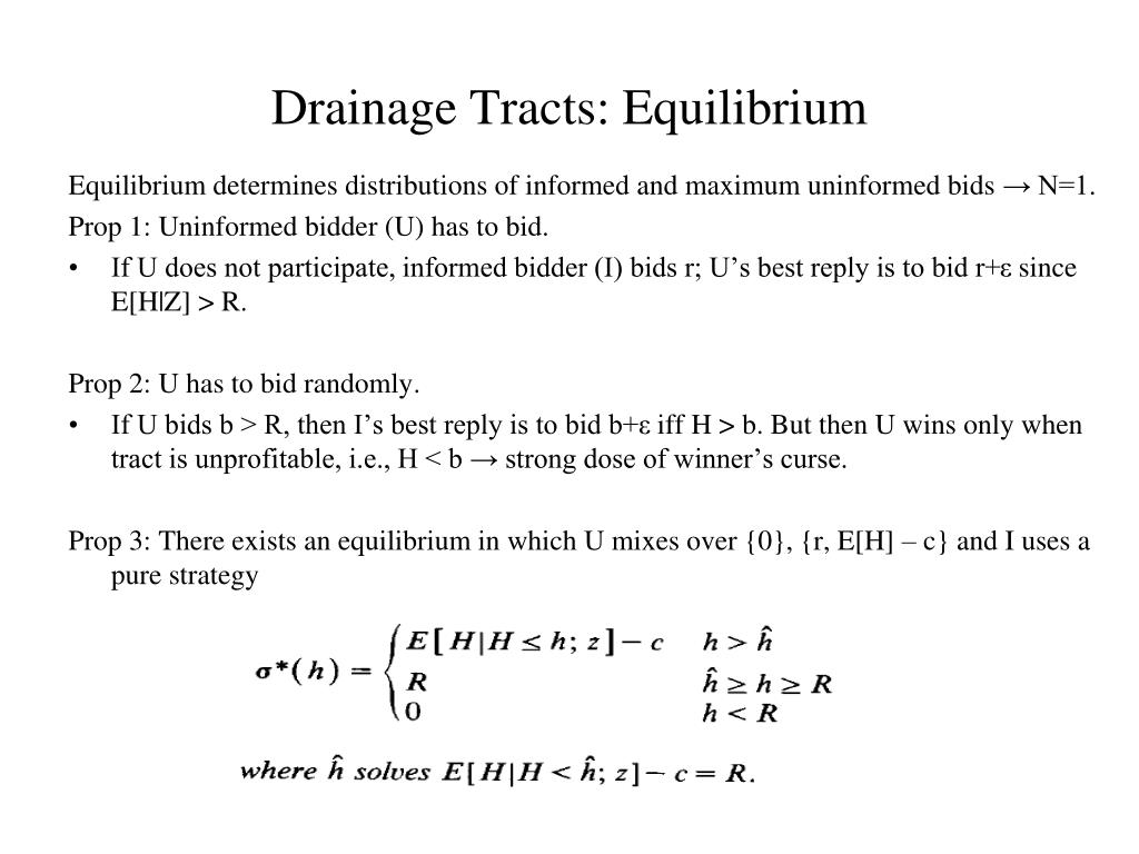 Drainage Tracts: Equilibrium