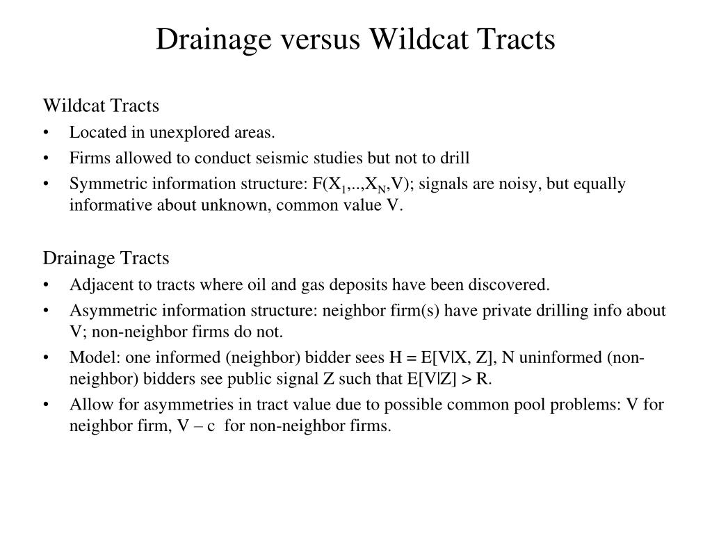 Drainage versus Wildcat Tracts