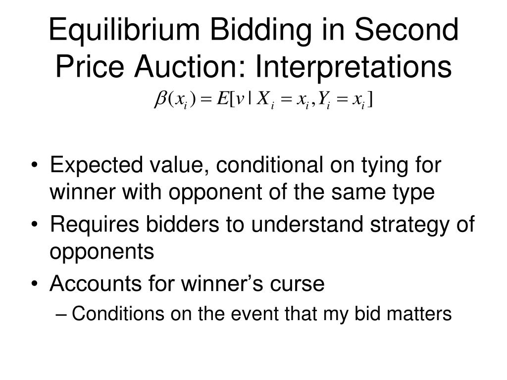 Equilibrium Bidding in Second Price Auction: Interpretations