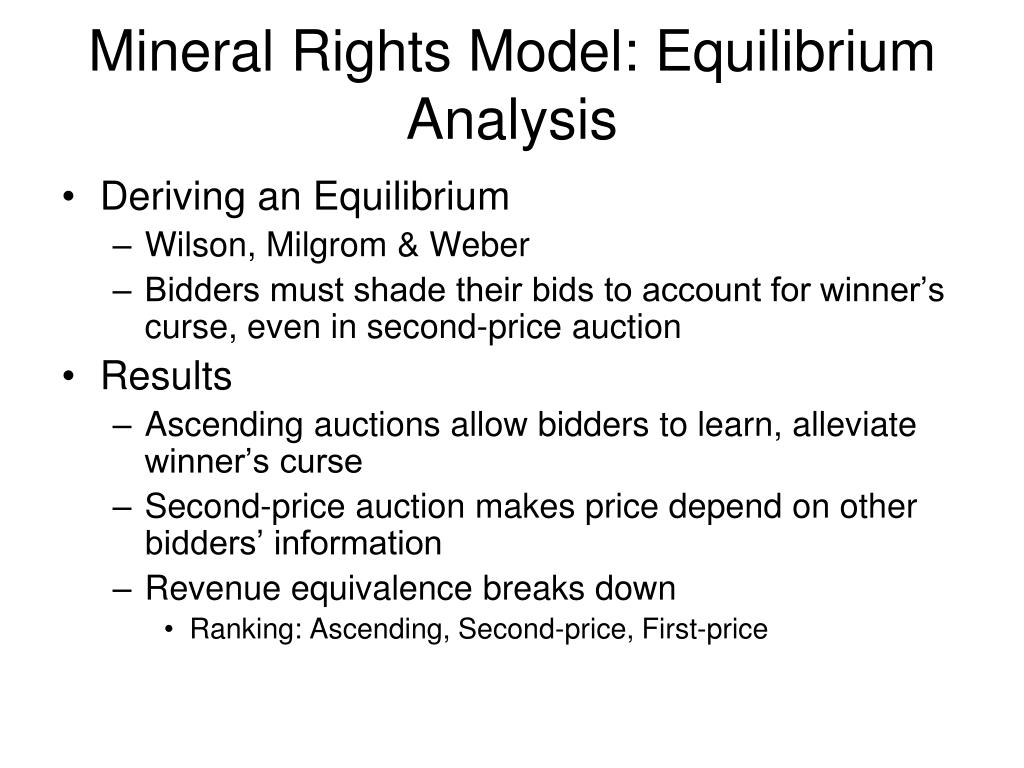 Mineral Rights Model: Equilibrium Analysis