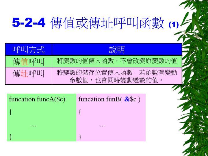 5-2-4 傳值或傳址呼叫函數