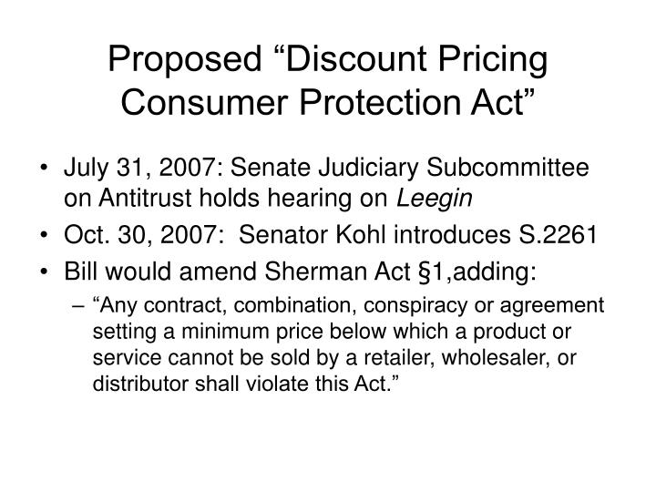 "Proposed ""Discount Pricing Consumer Protection Act"""