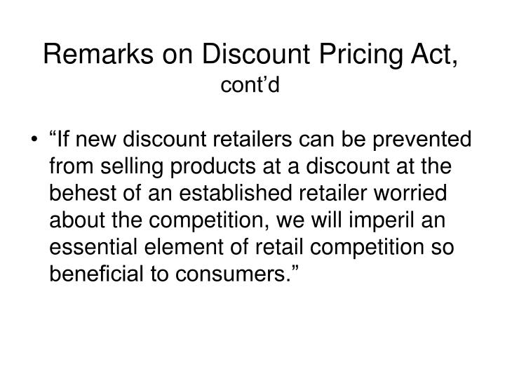 Remarks on Discount Pricing Act,