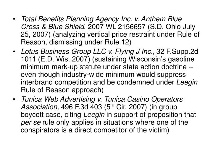 Total Benefits Planning Agency Inc. v. Anthem Blue Cross & Blue Shield