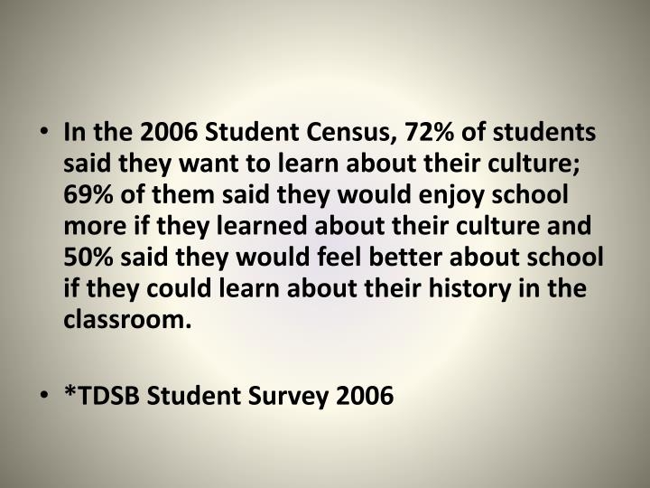 In the 2006 Student Census, 72% of students said they want to learn about their culture; 69% of them said they would enjoy school more if they