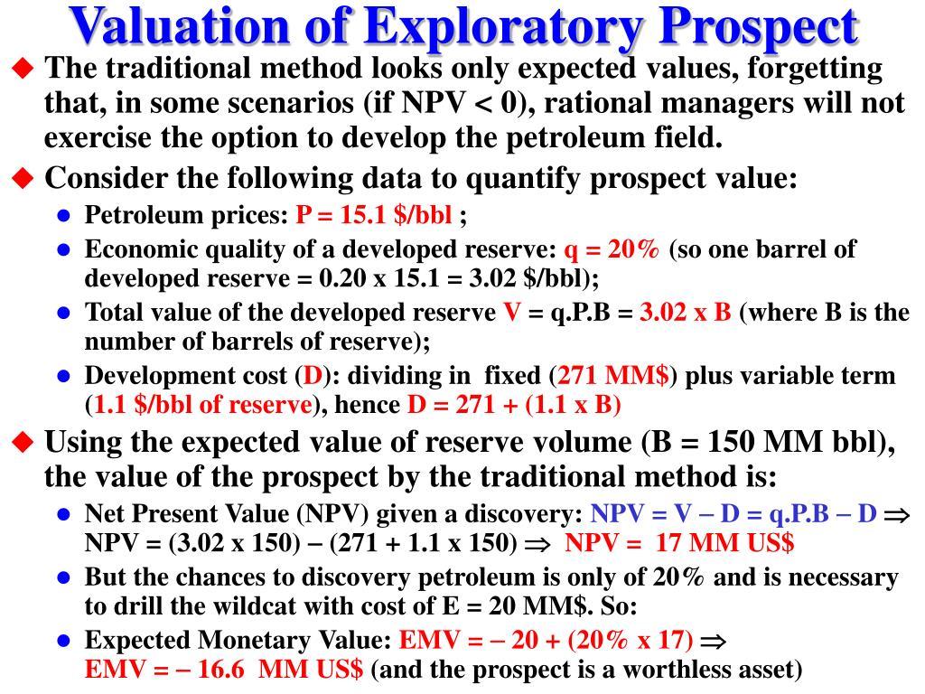 Valuation of Exploratory Prospect