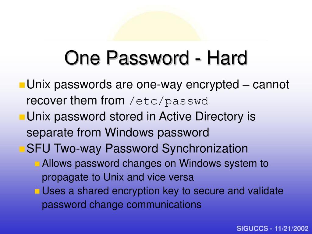 One Password - Hard