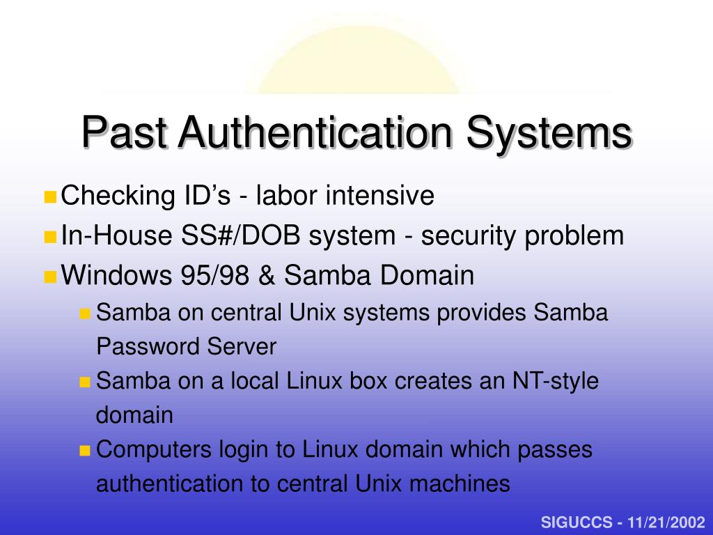 Past Authentication Systems