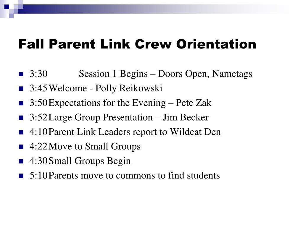 Fall Parent Link Crew Orientation