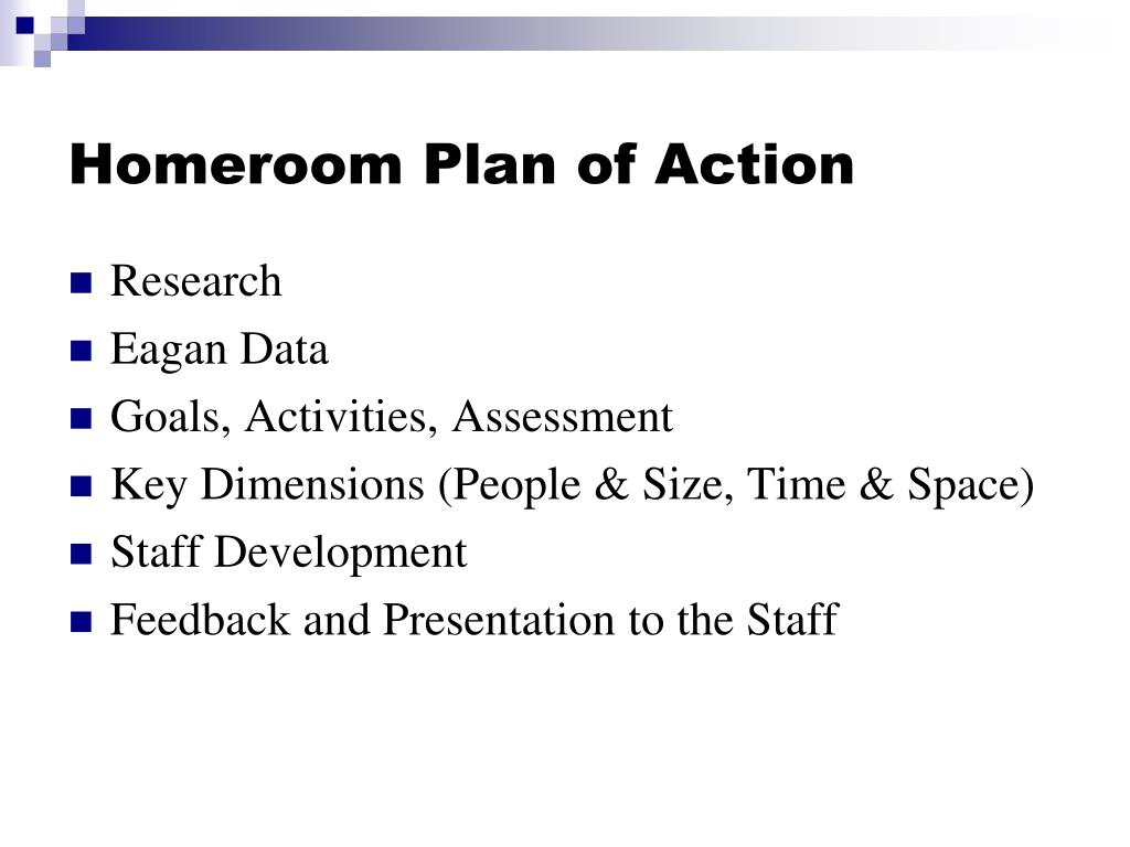 Homeroom Plan of Action