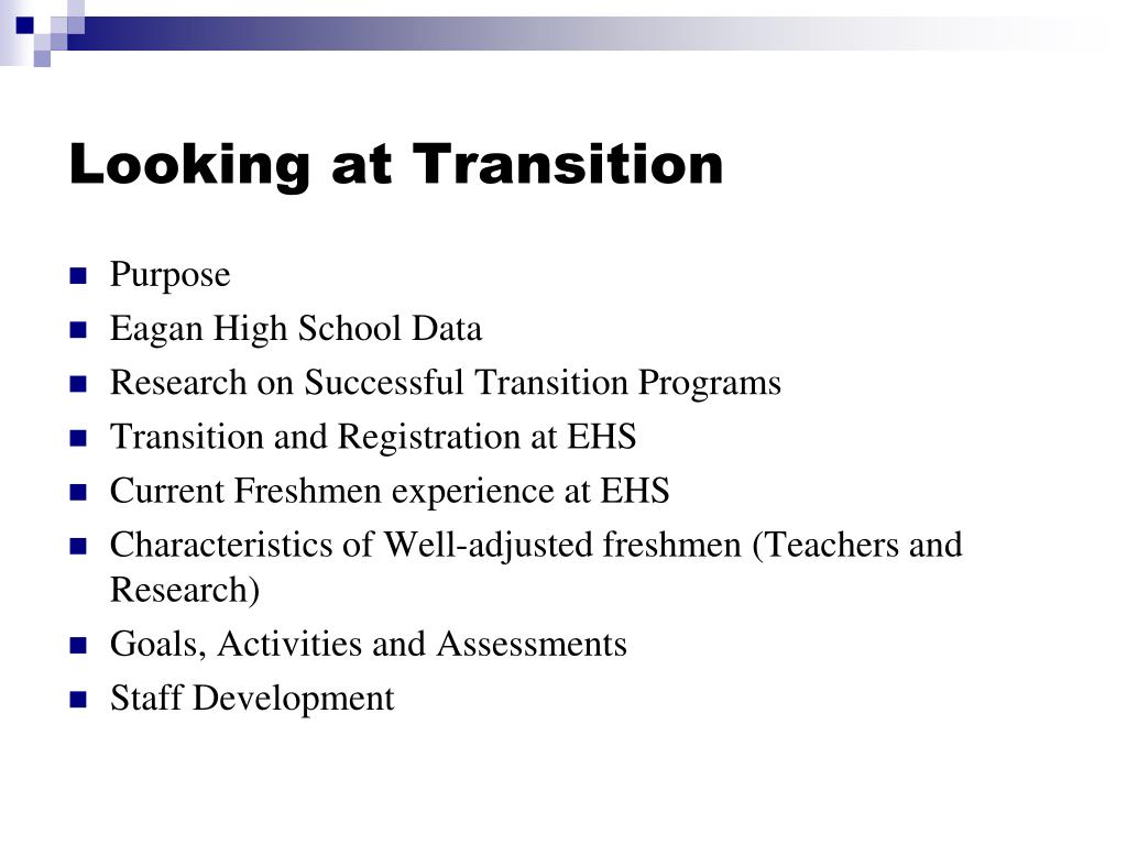 Looking at Transition