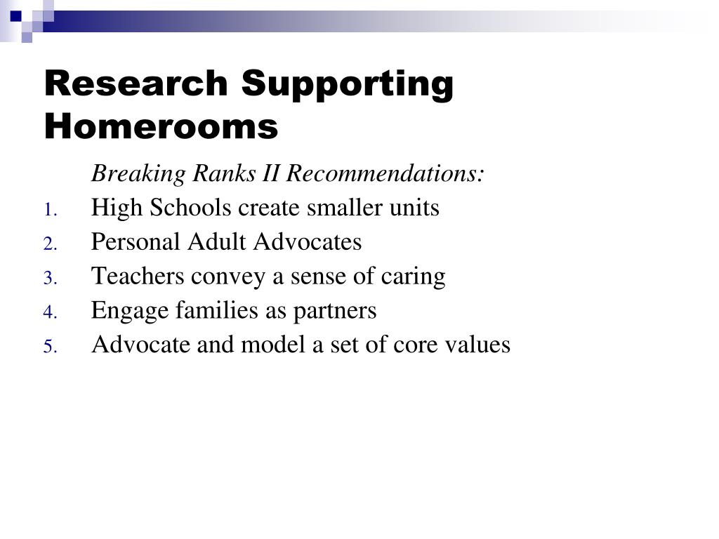 Research Supporting Homerooms