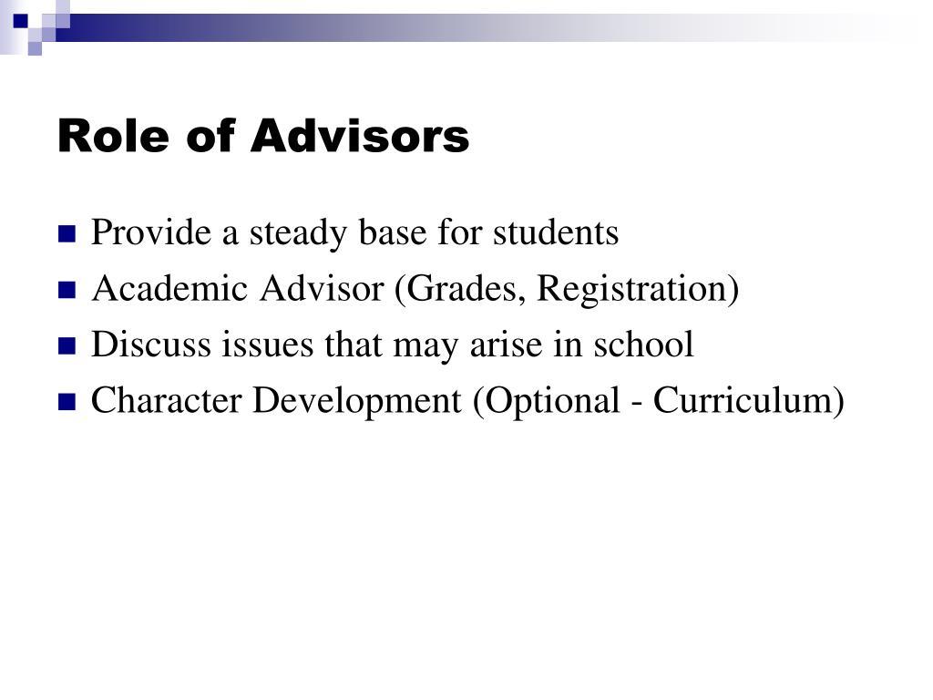 Role of Advisors