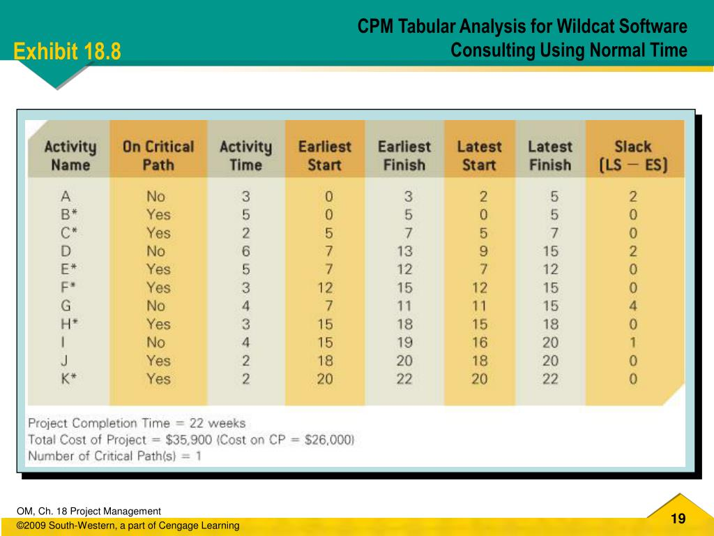 CPM Tabular Analysis for Wildcat Software