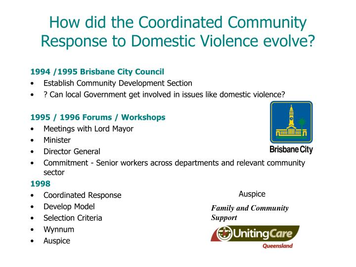 How did the coordinated community response to domestic violence evolve