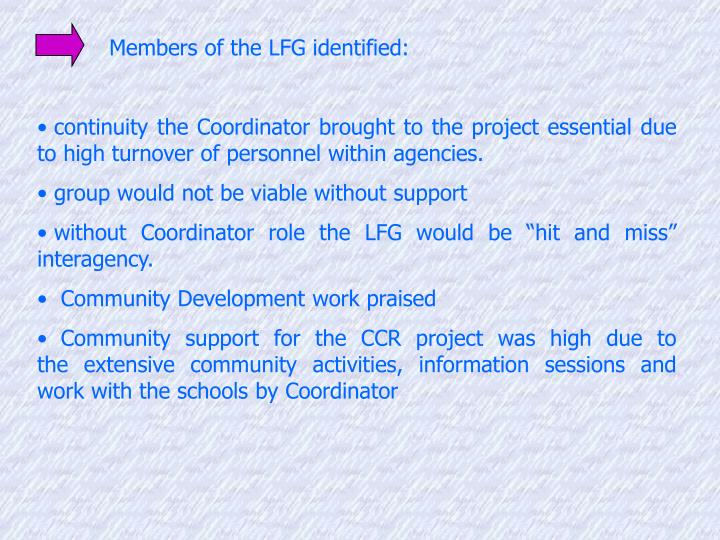 Members of the LFG identified:
