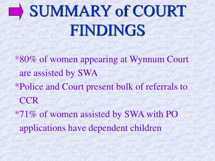 SUMMARY of COURT FINDINGS