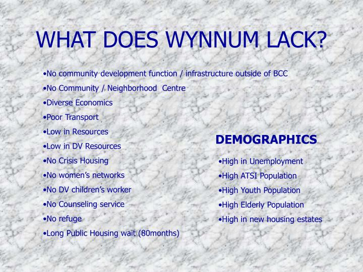 WHAT DOES WYNNUM LACK?