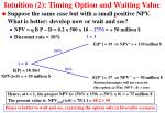 intuition 2 timing option and waiting value