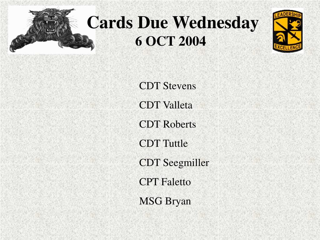 Cards Due Wednesday