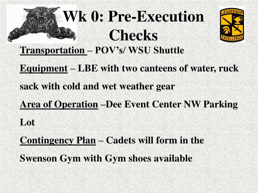 Wk 0: Pre-Execution