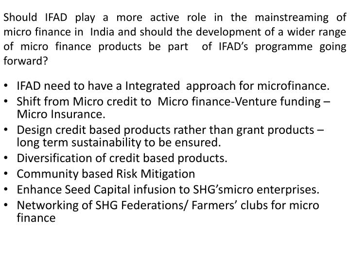 Should IFAD play a more active role in the mainstreaming of
