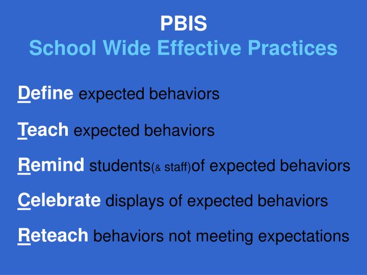 Pbis school wide effective practices