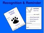 recognition reminder
