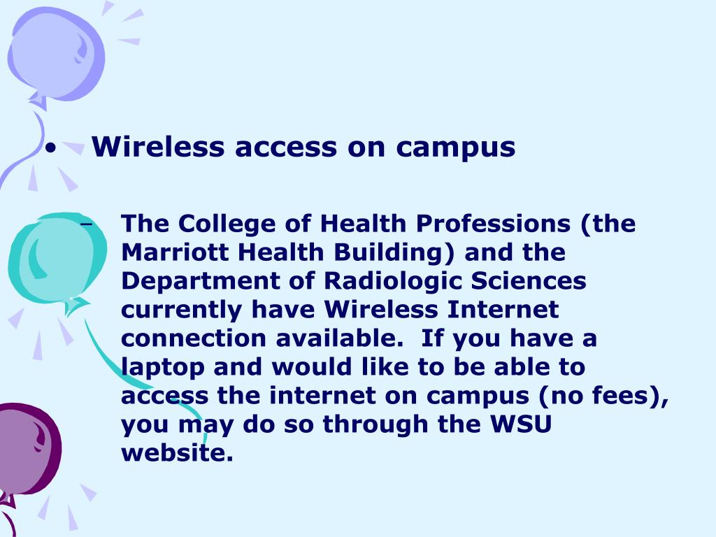 Wireless access on campus