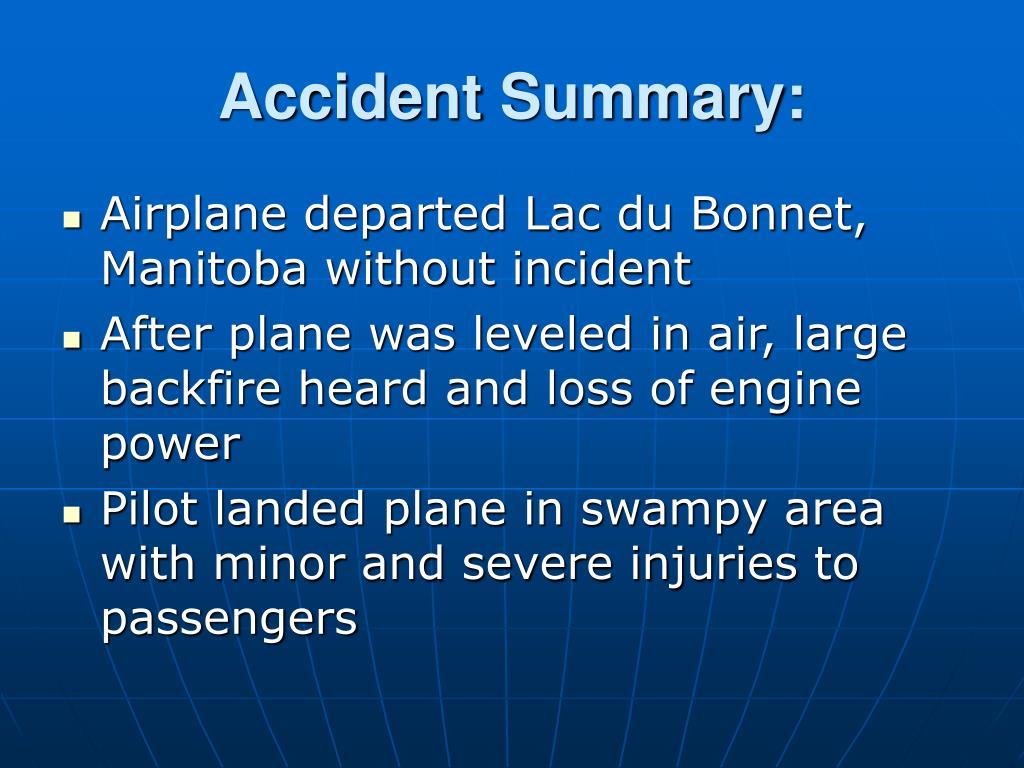 Accident Summary: